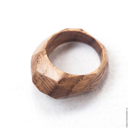 Кольца ручной работы. Ярмарка Мастеров - ручная работа. Купить Кольцо из дуба граненое. Handmade. Коричневый, кольцо ручной работы