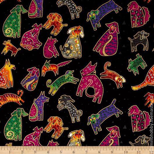 Шитье ручной работы. Ярмарка Мастеров - ручная работа. Купить Ткань для пэчворка Laurel Burch собачки. Handmade. Пэчворк
