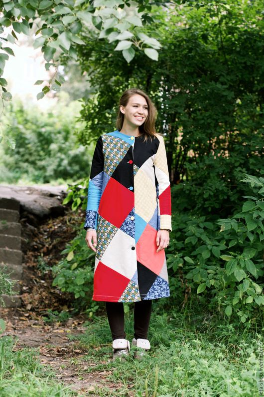 Верхняя одежда ручной работы. Ярмарка Мастеров - ручная работа. Купить Пальто пэчворк. Handmade. Разноцветный, пальто на подкладе, лен