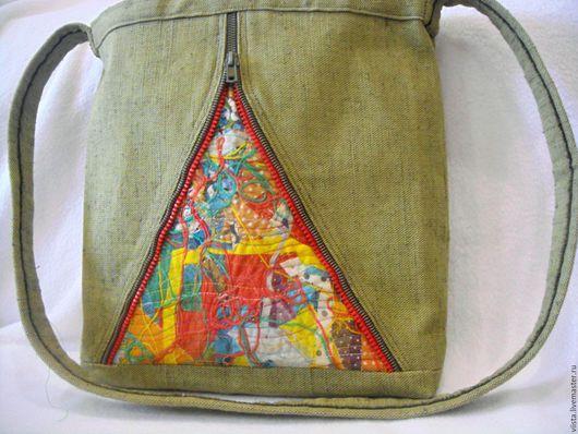 Женские сумки ручной работы. Ярмарка Мастеров - ручная работа. Купить Сумка. Handmade. Хаки, сумка женская, из брезента, лён