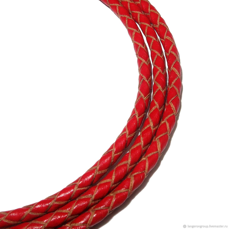 Шнур кожаный плетеный. Толщина 3,0 мм. Цвет - красный, Шнуры, Бат-Ям,  Фото №1