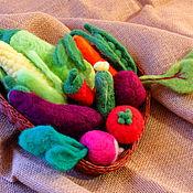 Войлочная игрушка ручной работы. Ярмарка Мастеров - ручная работа Фрукты и овощи валяные из шерсти. Handmade.