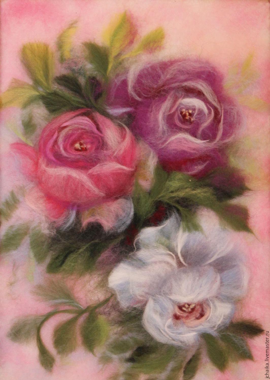 Картины шерстью цветы фото