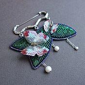 Украшения handmade. Livemaster - original item Brooch Spring beaded, sequins, GIMP, pearl -2. Handmade.