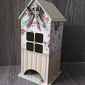 Для дома и интерьера ручной работы. Ярмарка Мастеров - ручная работа чайный домик для хранения чая Розовые  полоски декупаж дерево. Handmade.