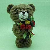 Куклы и игрушки ручной работы. Ярмарка Мастеров - ручная работа Мишка с букетиком. Handmade.