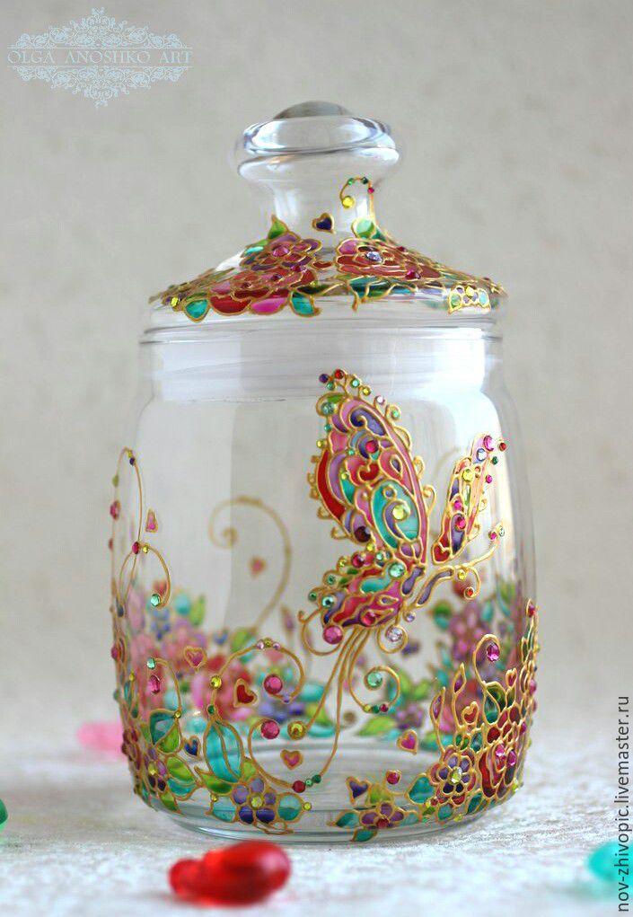 The Jar Of 'The Dream Mistress'. Painting on glass, Jars, Velikiy Novgorod,  Фото №1