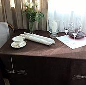Скатерти ручной работы. Ярмарка Мастеров - ручная работа Скатерть льняная в скандинавском стиле шоколадная. Handmade.