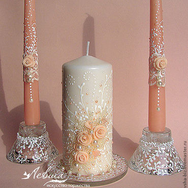 Свадебный салон ручной работы. Ярмарка Мастеров - ручная работа Свадебные свечи «Мелодия». Handmade.