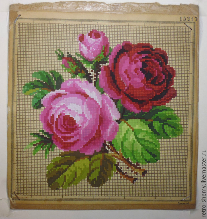 Найти схему вышивки роза