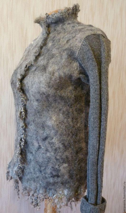 """Пиджаки, жакеты ручной работы. Ярмарка Мастеров - ручная работа. Купить Жакет """"Кудрявая овечка"""". Handmade. Серый, теплый подарок"""