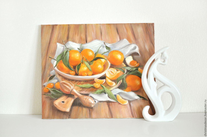 Живопись маслом, картина для дома, цитрусы, картина написанная маслом, натюрморт для дома, работа художника, позитивная картина, яркие краски, оранжевый