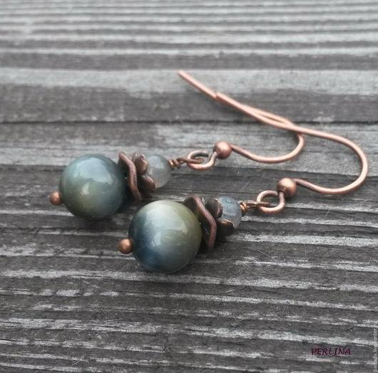 `Зеленоглазки` серьги из натуральных камней соколиного глаза и лабрадорита. Серьги соколиный глаз, серьги с лабрадоритом, серьги в подарок, синие серьги, серьги из камней
