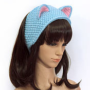 Аксессуары handmade. Livemaster - original item Headband with Cat ears knitted hair Blue. Handmade.