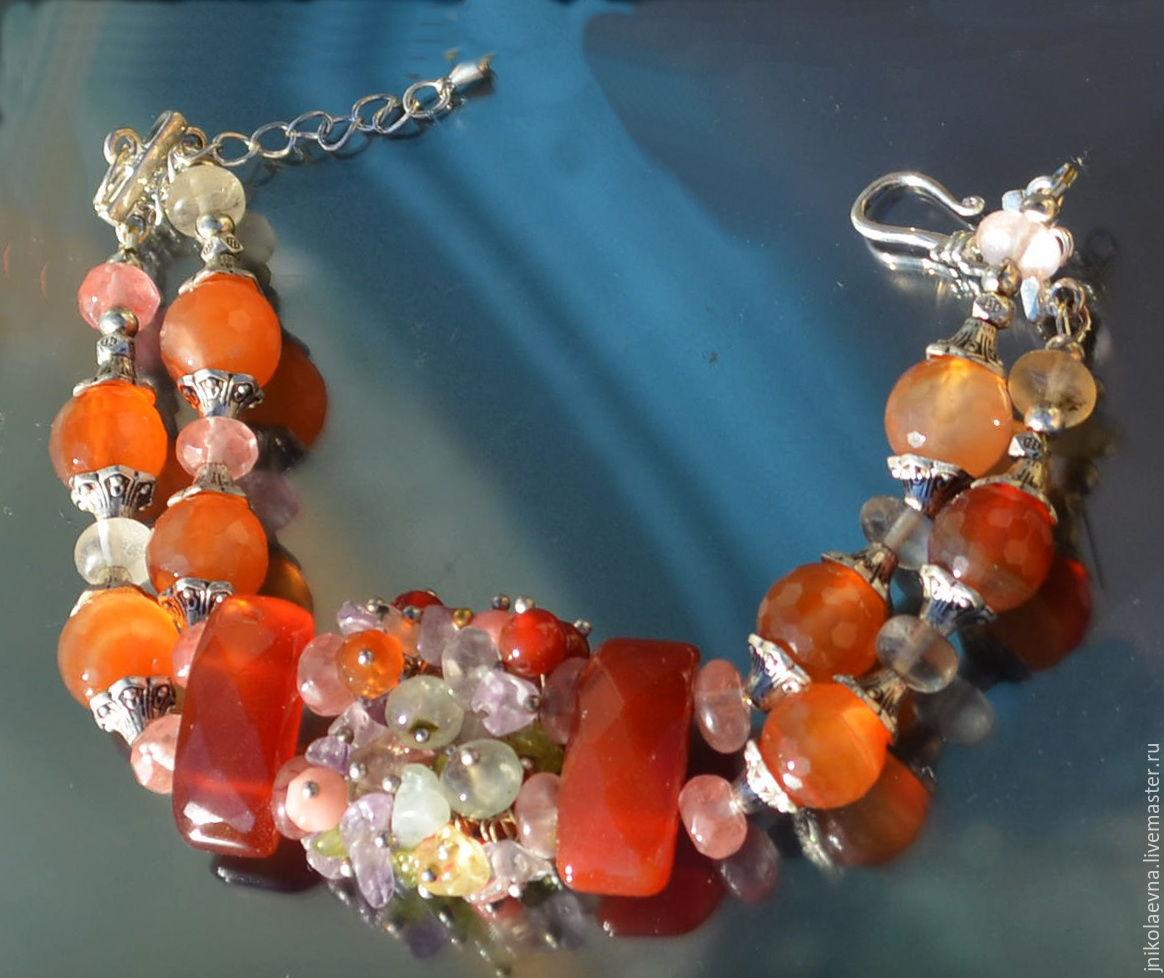 Двухрядный браслет из натуральных камней