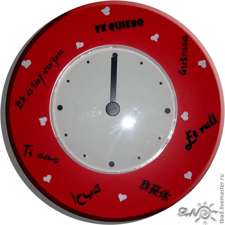 """Часы красные настенные """"I love you"""", Часы классические, Новосибирск,  Фото №1"""