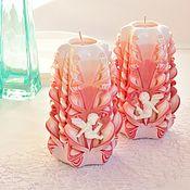 Подарки на 14 февраля ручной работы. Ярмарка Мастеров - ручная работа Подарки на 14 февраля: Резные свечи с ангелами - персиковый розовый. Handmade.