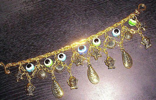 """Браслеты ручной работы. Ярмарка Мастеров - ручная работа. Купить Браслет """"Рыбьи глаза"""". Handmade. Браслет с подвесками, Глаза, золотой"""