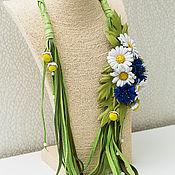 Украшения handmade. Livemaster - original item Necklace leather Daisies and cornflowers. Decoration leather.. Handmade.