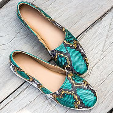 Обувь ручной работы. Ярмарка Мастеров - ручная работа Эспадрильи из натуральной кожи питона. Туфли из кожи питона. Handmade.