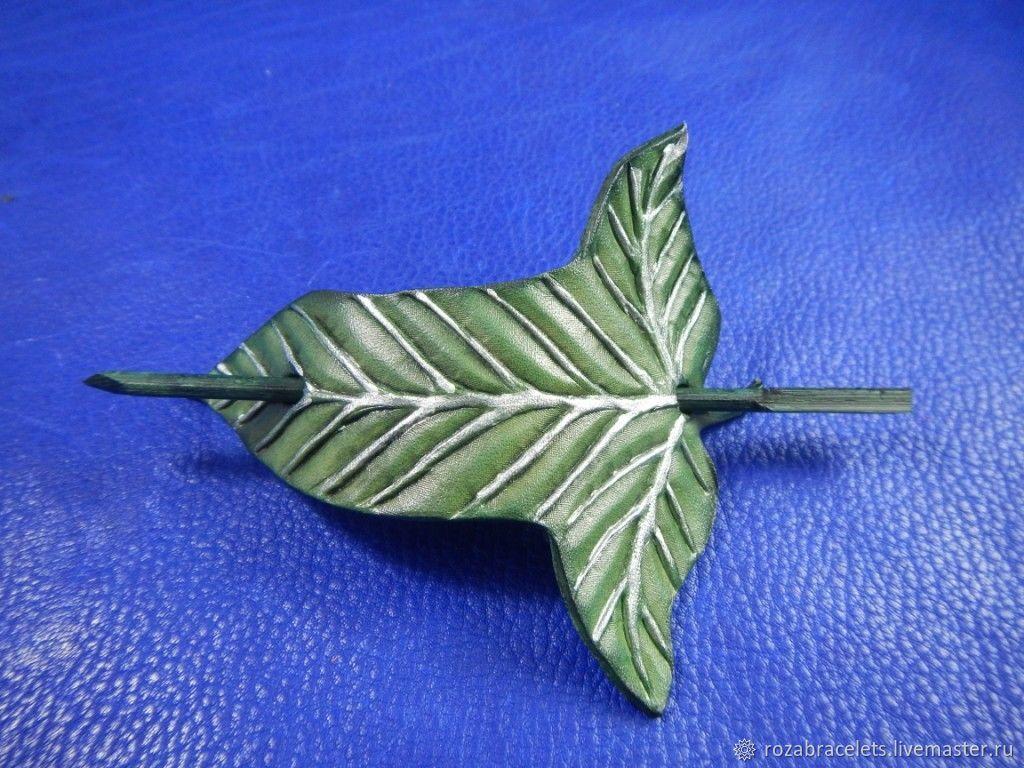 Barrette leather Elven leaf, Hairpins, Ulyanovsk,  Фото №1