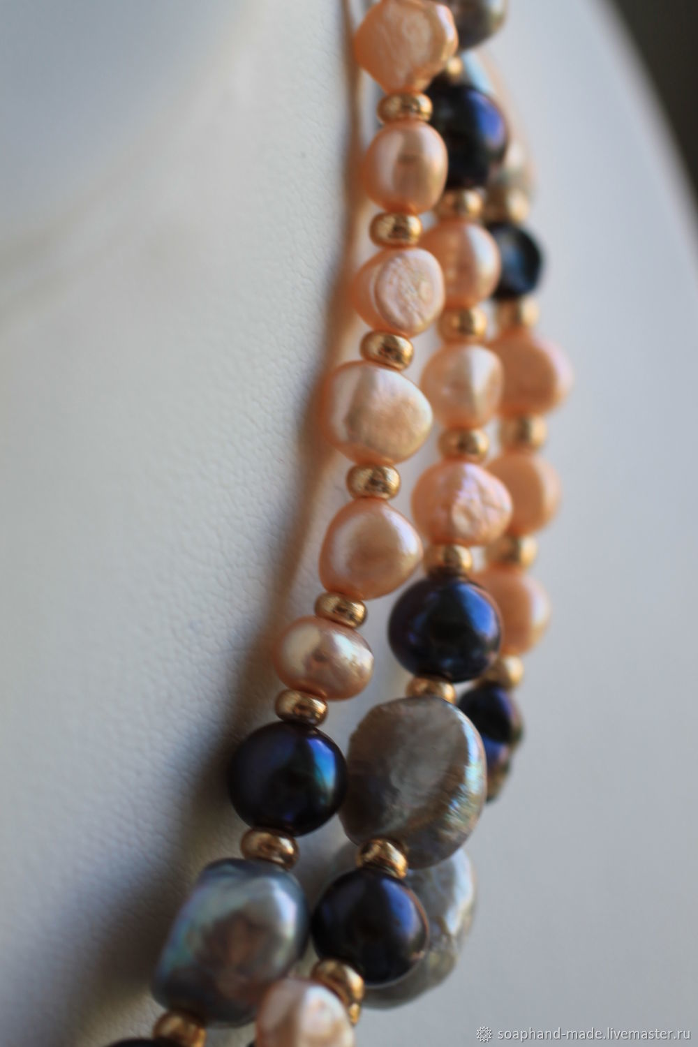 With pendant 'Peach night' of Baroque pearls, Necklace, Moscow,  Фото №1