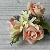 Украшения handmade. Livemaster - original item Hairpin with roses, Jasmine and blueberries. polymer clay.. Handmade.