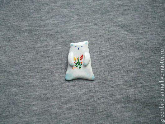 Броши ручной работы. Ярмарка Мастеров - ручная работа. Купить Белый мишка. Handmade. Белый, белый медведь, подарок, Екатеринбург