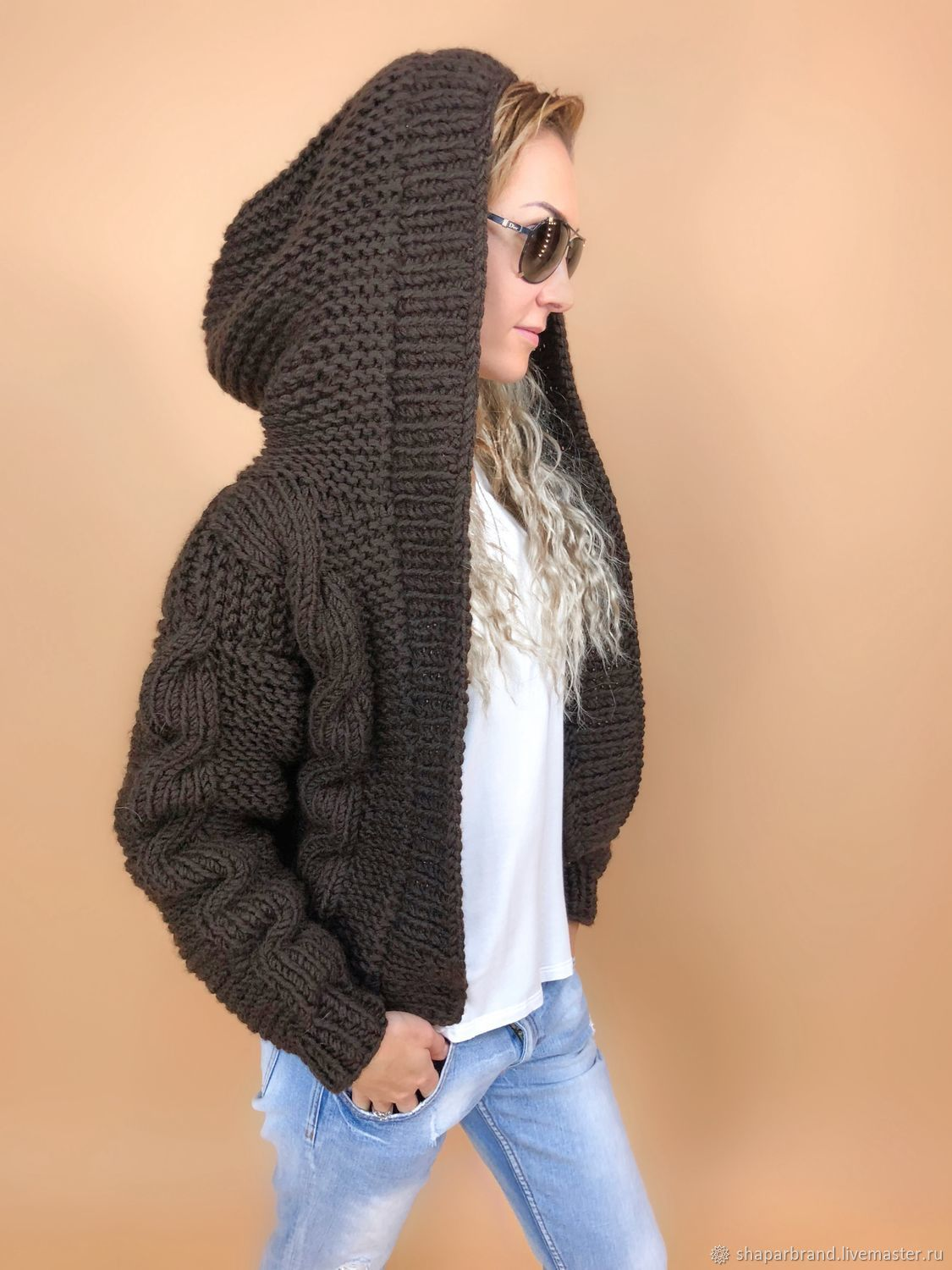In the pictures the brown bomber jacket with hood women's from Shapar, brand knitted clothes handmade.