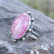 Украшения handmade. Livemaster - original item Rose ring with rose quartz in 925 sterling silver IV0035. Handmade.