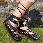 """Обувь ручной работы. Ярмарка Мастеров - ручная работа Темно-коричневые кожаные сандалии """"Leche Dream"""". Handmade."""