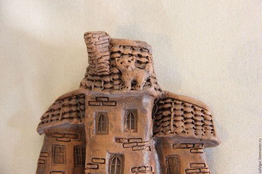 Город ручной работы. Ярмарка Мастеров - ручная работа. Купить панно домик. Handmade. Коричневый, Керамика
