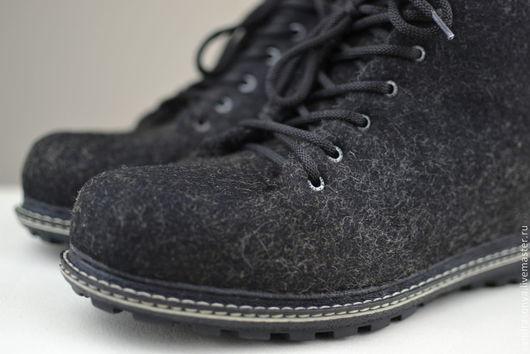 """Обувь ручной работы. Ярмарка Мастеров - ручная работа. Купить Ботинки валяные мужские """"Voron"""". Handmade. Ботинки валяные, валенки"""