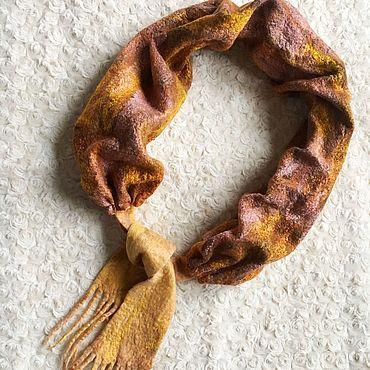 Аксессуары ручной работы. Ярмарка Мастеров - ручная работа Валяный рыжий шарфик Осенний лист. Handmade.