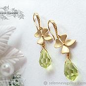 Украшения handmade. Livemaster - original item Earrings gold plated with crystal pendants Preciosa