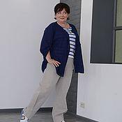Одежда handmade. Livemaster - original item Linen trousers with tselnokrajnie yoke knit grey Art.0767. Handmade.