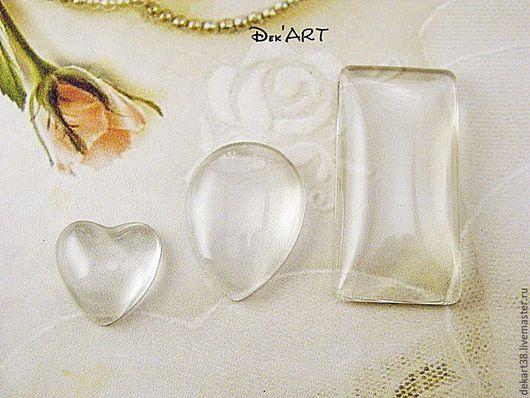 Для украшений ручной работы. Ярмарка Мастеров - ручная работа. Купить Кабошоны стеклянные сердечко, капля, прямоуголник. Handmade. Картинки