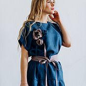 """Платья ручной работы. Ярмарка Мастеров - ручная работа Платье льняное свободное """"Индиго""""+ пояс и броши, темно-синий. Handmade."""