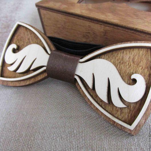 """Галстуки, бабочки ручной работы. Ярмарка Мастеров - ручная работа. Купить Галстук-бабочка из дерева """"Усы"""". Handmade. Комбинированный"""