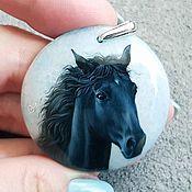 Украшения handmade. Livemaster - original item Horses-jewelry painting on stone. Handmade.