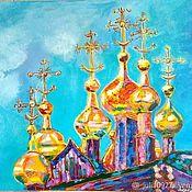 Картины и панно handmade. Livemaster - original item Oil painting Golden domes landscape with a temple on canvas. Handmade.