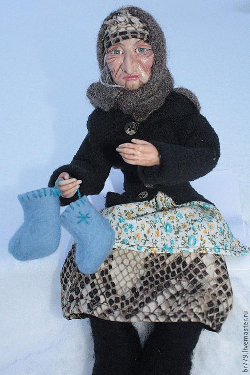 Коллекционные куклы ручной работы. Ярмарка Мастеров - ручная работа. Купить бабуся Ягуся вышла на базар, валенки из шерсти бери не зевай, Кукла по. Handmade.
