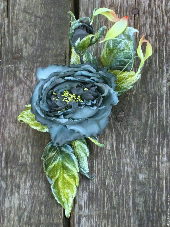 Grosgrain rose brooch silk 'Isabella', Brooches, Lyubertsy,  Фото №1