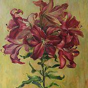 Картины и панно handmade. Livemaster - original item Dark pink lilies. Two thousand nineteen. Oil, canvas on cardboard. Handmade.