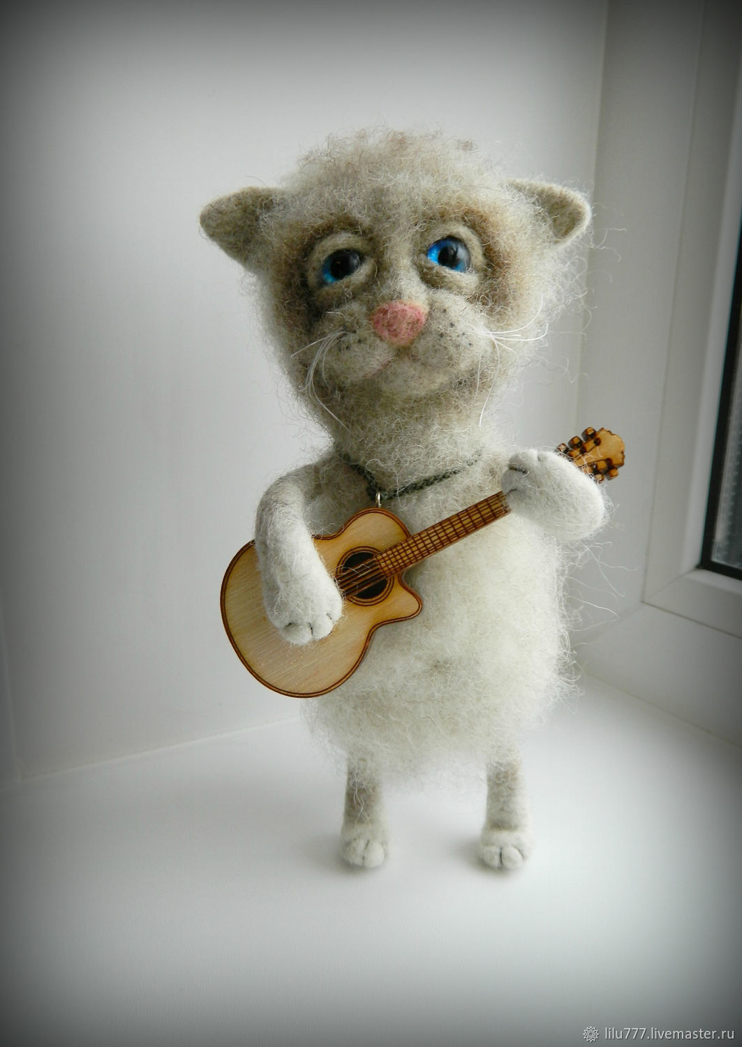 Vasily the cat felt, with a guitar, Felted Toy, Ufa,  Фото №1