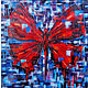 Large abstract painting 'Red butterfly' on canvas, Pictures, Samara,  Фото №1