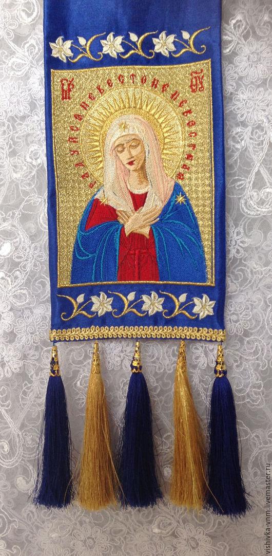 """Закладки для книг ручной работы. Ярмарка Мастеров - ручная работа. Купить Закладка для Евангелия с образом Богородицы """"Умиление"""". Handmade. Синий"""