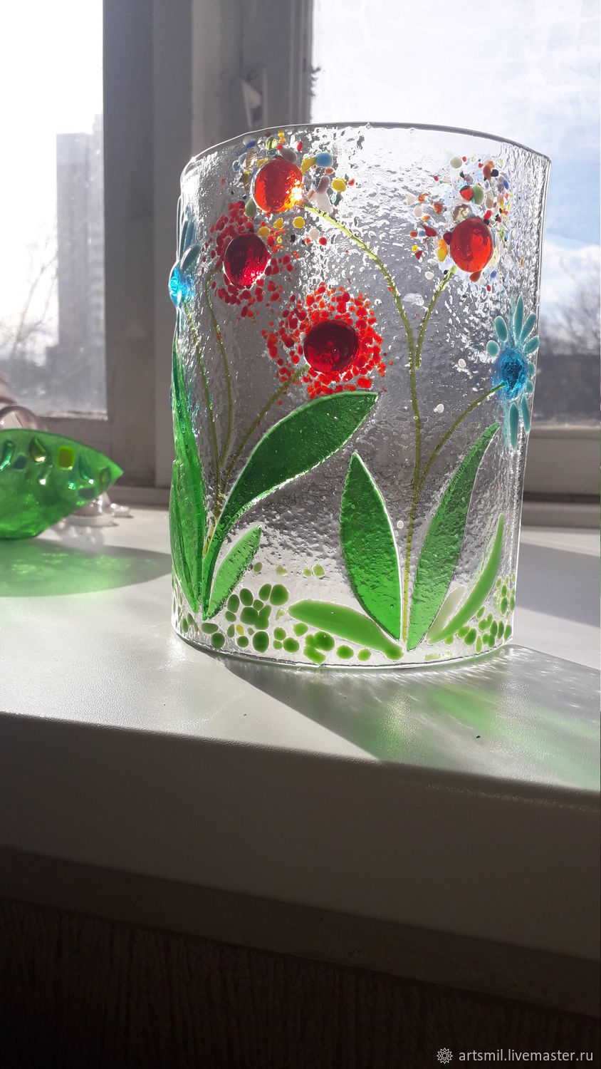 Bright window decoration with glass flowers, Interior elements, Moscow,  Фото №1