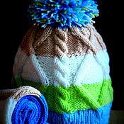 Работы для детей, ручной работы. Ярмарка Мастеров - ручная работа Комплект шапка с косами и шарф. Handmade.