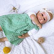 Dresses handmade. Livemaster - original item Knitted summer sundress for girl, dress for baby, mint. Handmade.